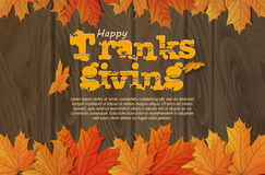 Thanksgiving. Flat design style. Happy Thanksgiving Day. Wooden sign. Autumn Royalty Free Stock Photos