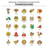 Thanksgiving Flat Line Icon Set - Business Concept Icons Design royalty free illustration