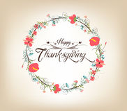 Thanksgiving florals wreath Colors, Textures, and Elements Royalty Free Stock Image