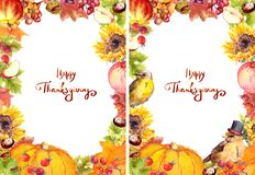 Thanksgiving flyer 5x7 - autumn leaves and flowers, pumpkin, birds, fruits and vegetables - apple, grape, nuts, berries royalty free illustration