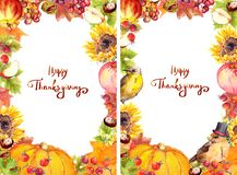 Thanksgiving flyer 4x6 - autumn leaves and flowers, pumpkin, birds, fruits and vegetables - apple, grape, nuts, berries stock illustration