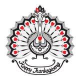 thanksgiving Fondo del vector con el pavo Foto de archivo