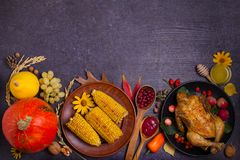 Thanksgiving food concept. Harvest or Thanksgiving background. Chicken or turkey, autumn fruits and vegetables: corn, pumpkin, paprika, apples. Cranberry sauce royalty free stock images