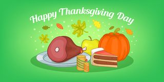 Thanksgiving food horizontal banner, cartoon style. Thanksgiving food horizontal banner concept. Cartoon illustration of thanksgiving food vector horizontal Royalty Free Stock Photos