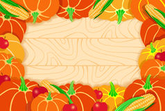 Thanksgiving frame. Decorative frame from pumpkins, apples and corn Stock Images