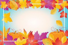 Thanksgiving frame. Autumn leafs and pumpkin frame and space for text. Thanksgiving Holiday banner. Retro. Vector illustration. Vintage Pumpkin vegetable and Stock Photo