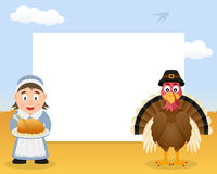 Thanksgiving Frame Housewife with Turkey Royalty Free Stock Photo