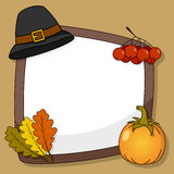 Thanksgiving Frame with Pilgrim Hat Royalty Free Stock Images