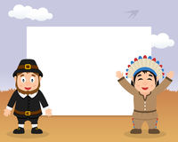 Thanksgiving Frame Pilgrim Native Men Royalty Free Stock Photo