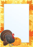Thanksgiving frame. Vector border  with  Turkey, pumpkin  and many red and yellow maple leaves Royalty Free Stock Photos