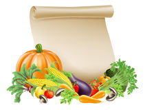 Thanksgiving or fresh produce scroll. Illustration of thanksgiving; harvest festival or fresh produce scroll background of paper scroll sou rounded by fresh vector illustration