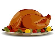 Thanksgiving. Fried turkey vector clip-art Royalty Free Stock Photos