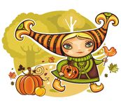 Thanksgiving girl. Beautiful girl is hurrying to the Harvest festival with funny presents. Lolypop bird, and pumpkin Royalty Free Stock Photography