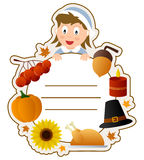 Thanksgiving Girl Book Cover. A Thanksgiving girl book cover frame with autumnal elements and space for your text. Eps file available Stock Images
