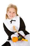 Thanksgiving: Girl Pilgrim Holding Gourds And Indian Corn Stock Image