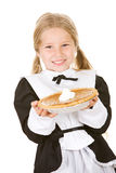 Thanksgiving: Girl Pilgrim Holding Pumpkin Pie Royalty Free Stock Photos