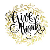 Thanksgiving - gold glittering lettering design Royalty Free Stock Images