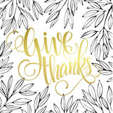 Thanksgiving - gold glittering lettering design Stock Photo