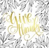 Thanksgiving - gold glittering lettering design Stock Photo