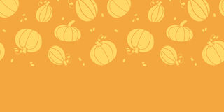Thanksgiving golden pumpkins horizontal seamless Royalty Free Stock Photography