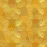 Thanksgiving graphic seamless pattern with turkey. Golden sienna Thanksgiving graphic seamless pattern with turkey Stock Photography