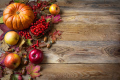 Thanksgiving greeting background with pumpkins, apples and fall Royalty Free Stock Photos