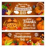 Thanksgiving banner set with turkey, cornucopia Stock Photo
