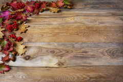 Thanksgiving  greeting with berries, acorn, fall leaves on woode Stock Photos