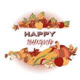 Thanksgiving greeting card with autumn foliage and Stock Photos