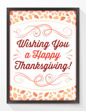 Thanksgiving Greeting Card with Autumn Leaves and a Black Frame Stock Images