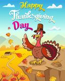 Thanksgiving greeting card with cool singing turkey standing on tne pumpkinThanksgiving greeting card with happy turkey in pilgrim vector illustration