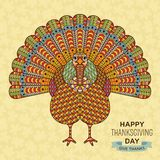 Thanksgiving greeting card. Creative stylized turkey with ornamental elements