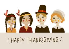 Thanksgiving greeting card with Indians and pilgrims. At the tabl Stock Illustration