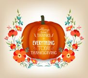 Thanksgiving greeting card with pumpkin and decorative flowers Royalty Free Stock Photography