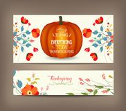 Thanksgiving greeting card with pumpkin and decorative flowers stock illustration