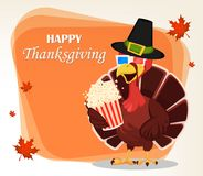 Thanksgiving greeting card with a turkey bird wearing a Pilgrim Stock Photo