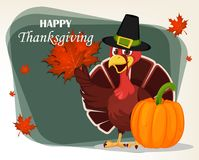Thanksgiving greeting card with a turkey bird wearing a Pilgrim Royalty Free Stock Images