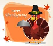 Thanksgiving greeting card with a turkey bird wearing a Pilgrim Royalty Free Stock Image