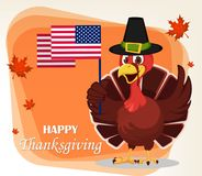 Thanksgiving greeting card with a turkey bird wearing a Pilgrim Stock Image