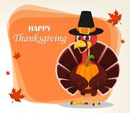 Thanksgiving greeting card with a turkey bird wearing a Pilgrim Royalty Free Stock Photos