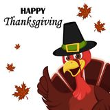 Thanksgiving greeting card with a turkey bird wearing a Pilgrim Stock Photography