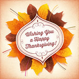 Thanksgiving Greeting Card with a White Label and Autumn Leaves Stock Image