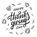Thanksgiving greeting design with pumpkin, other vegetables, autumn leaves, and calligraphy inscription Thanksgiving Day Stock Photos