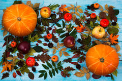 Thanksgiving greeting with fall leaves and pumpkin on blue backg Royalty Free Stock Photo