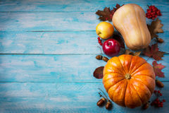Thanksgiving  greeting with pumpkins and fall leaves on blue bac Stock Photo