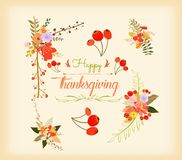 Thanksgiving hand drawn floral lettering card Stock Photos
