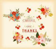Thanksgiving hand drawn floral lettering card Royalty Free Stock Photography