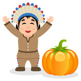 Thanksgiving Happy Native Man & Pumpkin Royalty Free Stock Photography
