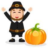 Thanksgiving Happy Pilgrim Man & Pumpkin Royalty Free Stock Photo
