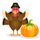 Thanksgiving Happy Turkey and Pumpkin Royalty Free Stock Image